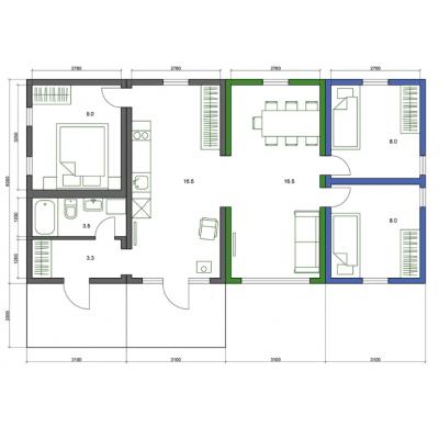 Modularna hiša, 5-sobno tloris