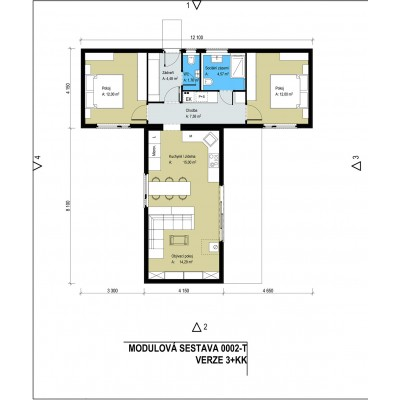 Modularno hišo, 3-sobno - tloris