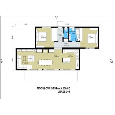 Modularno hišo, 4-sobno - tloris