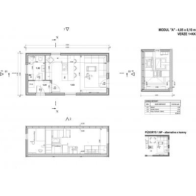 Modularna hiša, 1-sobno načrt ogled